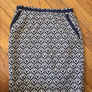 The Limited lined navy and white skirt, size 4